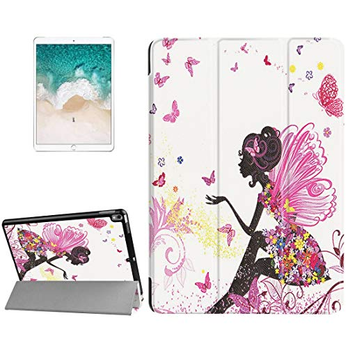 3-folding Butterfly Fairy Pattern Smart PU Case For Apple iPad Pro 10.5 Clear Back Cover with Holder