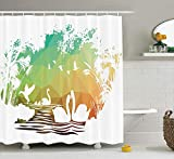 Animal Decor Collection, Swan Lake Ballet Inspired Picture Ballerinas and Musical Notes Fish Watercolor Splash Artprint, Polyester Fabric Bathroom Shower Curtain Set, Multi,60 X 72...