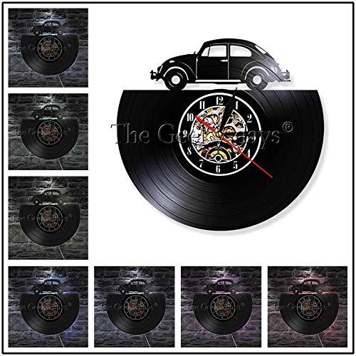 1 pieza de reloj de pared de disco de vinilo vintage para coche, lámpara LED, decoración del hogar, reloj de pared para coche, luz LED para amante del coche, 12 pulgadas con luz LED