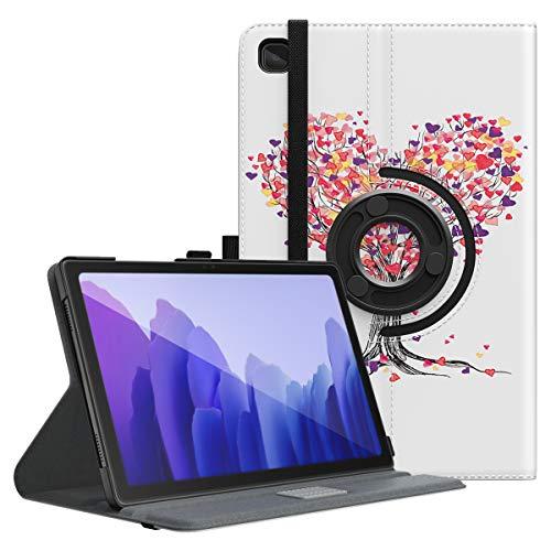 MoKo Hülle Kompatibel mit Samsung Galaxy Tab A7 10.4 Inch Model (SM-T500/505/507), Vollständige Schutzhülle Harte Rückseite 90° Drehbar Ständer Auto Schlaf/Aufwach, Liebesbaum
