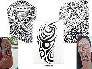 Tribal Tattoo Negro 3pliegos temporär brazo Brazo Pegatinas Tatuaje tribal 3