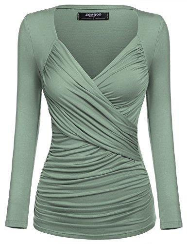 Zeagoo Damen V-Ausschnitt Langarmshirt Tunika Bluse Obertail T-Shirt mit Rüschen Grün- EU 36(Herstellergröße:S)