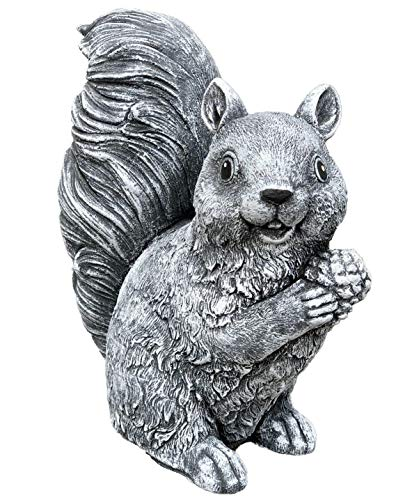 Stone figurine standing squirrel handmade frost-proof Made in Germany