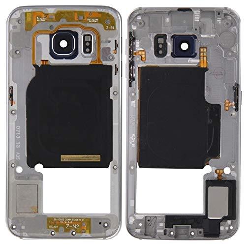 O-OBDO Panel de lente de cámara con carcasa trasera con teclas laterales y zumbador de altavoz para teléfono móvil Galaxy S6 Edge G925 (color: gris)