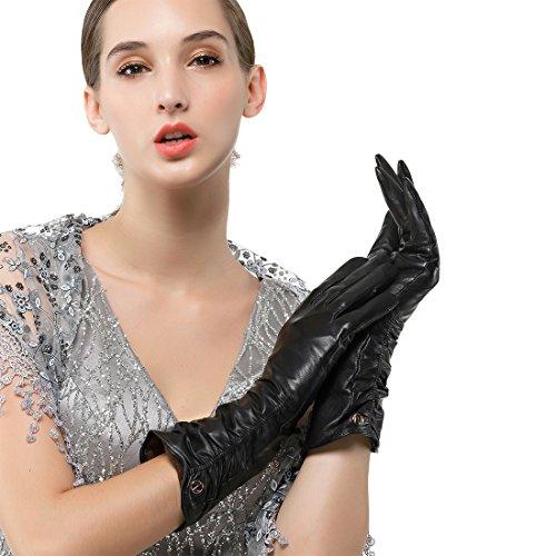 Nappaglo Damen Italienisches Lammfell Leder Handschuhe Winter Warm Langes Fleecefutter Handschuhe (L (Umfang der Handfläche:19.0-20.3cm), Schwarz(Touchscreen))