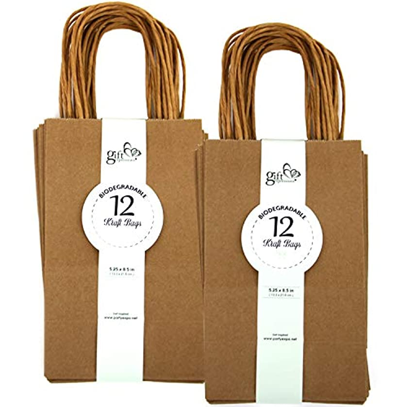 GIFT EXPRESSIONS Premium Quality Natural Brown Kraft Bag, Birthday Party Gift Favor Bag Set, Biodegradable Paper (24CT, Solid Small)
