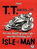 TT Races June 1961 注意看板メタル安全標識注意マー表示パネル金属板のブリキ看板情報サイントイレ公共場所駐車ペット誕生日新年クリスマスパーティーギフト