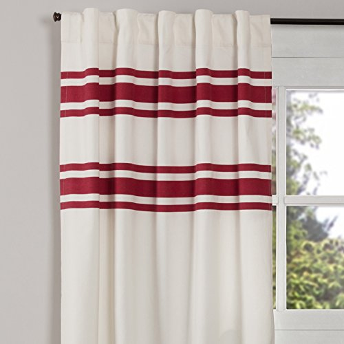 """Piper Classics Silo Hill Red Stripe Panel Curtains, Set of 2, 84"""" Long, Farmhouse Style Antique White Drapes"""