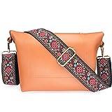 Wolven Adjustable Jacquard Weave Purse Strap Replacement Crossbody Shoulder Strap for Handbag Laptop Bag Etc - Red Classic Floral