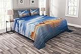 ABAKUHAUS Arizona Tagesdecke Set, Lake Powell Felsformationen, Set mit Kissenbezügen farbfester Digitaldruck, für Doppelbetten 220 x 220 cm, Azure Chinchilla-Perser orange