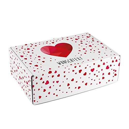 Herz & Heim® Geschenkverpackung aus Pappe - Polygonales Herz - mit Wunschtext