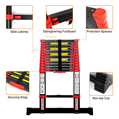 BEETRO 12.5ft Aluminum Telescoping Ladder, Extension Folding Ladder, for Roofing Business, Outdoor Working, Household Use and More, 330lbs Max Capacity, More Durable and Safer with Balance Rod.