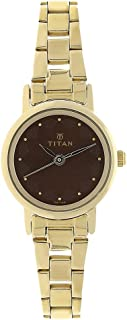 Titan Women's Contemporary Chronograph/Multi Function/Work Wear,Gold/Silver Metal/Leather Strap, Mineral Crystal, Quartz, Analog, Water Resistant Wrist Watch
