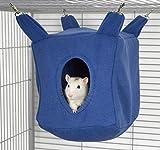 Rodents Residence Würfel Kuschelhängematte Kleintier Höhle Haus Häuschen Ratte Chinchilla Frettchen Degu (Blau)