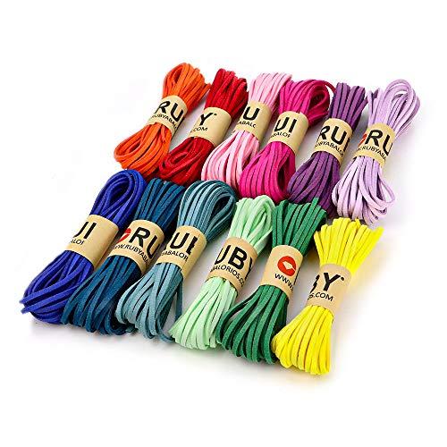 RUBY - 12 Rollos Cordón Antelina Multicolor Grosor 3mm x 5metros cada Rollo Cuerda para Pulseras Llavero y Fabricación de Bisuterías y Manualidades Artesanía (VIVO)