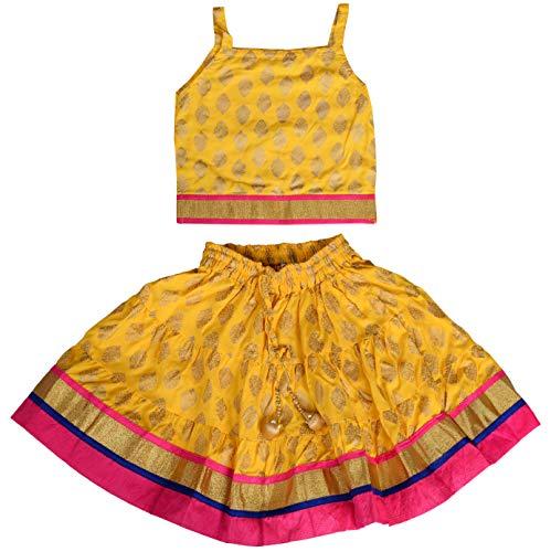 DIAMO Girl's Rayon Readymade Lehenga Choli (kid351--1-2 year_Yellow_1-2 Years)