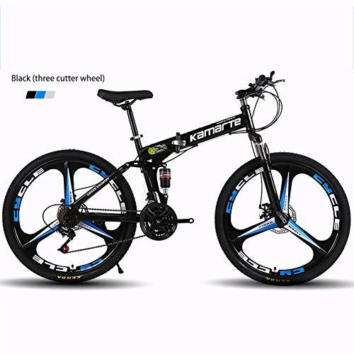 LHY Bicicleta De Montaña para Adultos, Marco Plegable De Acero De Alto Carbono para Bicicleta, Bicicletas MTB De Suspensión Completa, Doble Freno De Disco, 26 Pulgadas, Negro,A,26 Inch 24 Speed