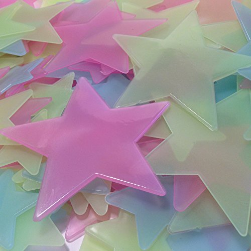 Rayliad 150 Large Multi-Color Glow In The Dark Stars - Bright, Long-Lasting, 2X Strength - Green, Blue, Pink - 1.5, 2.5, Huge 3.5 Inch - Adhesive Included