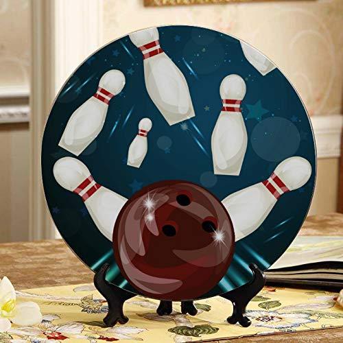 Bowling Ball Entertainment Sport Dekorationen Teller Deko-Teller Home Wackel-Teller Mit Ausstellungsstand Dekoration Haushalt Günstige Keramik Teller