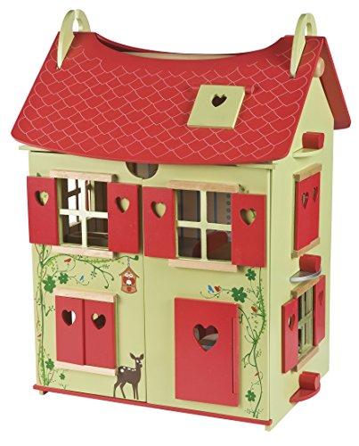 Janod - Casa de muñecas de Madera Naturaleza, Rojo / Verde (J06585)