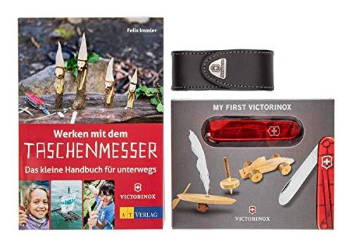 My First Victorinox Taschenmesser, transparent-rot + Lederetui + Buch: Werken mit dem Taschenmesser