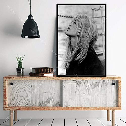 yaoxingfu Kein Rahmen Art Decor Hot Brigitte Bardot Filmstar Schauspielerin Modell Schwarz-Weiß-Kunst Wandkunst Leinwand Malerei Seide Poster Home 50x60cm
