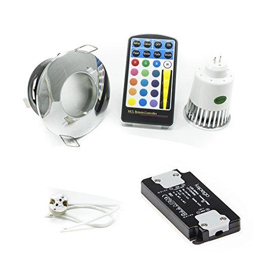 Foco para cabina de ducha hermética IP65LED RGB 5W Cromoterapia. Kit completo