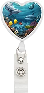 Coral Reef Ocean Scene Dolphin Turtle Shark Stingray Fish Heart Lanyard Retractable Reel Badge ID Card Holder - White