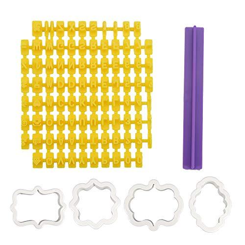 94 Keksstempel und 4 Ausstechformen, Alphabet-Zahlen- und Buchstaben-Stempel, Keks-Stempel, Prägeer, Fondantglasur-Werkzeug, Buchstaben-Ausstecher für Kuchendekoration