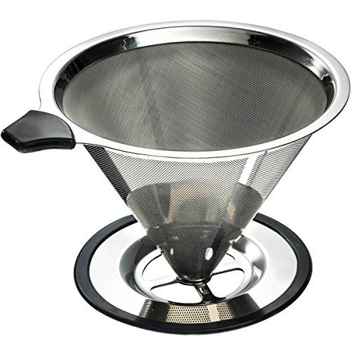 Stainless Steel Pour Over Coffee Cone Dripper with Cup Stand - Paperless and Reusable - Ultra Fine Micro Mesh Filter - BONUS: Coffee Scooping Spoon + Cleaning Brush - [1-4 Cup]