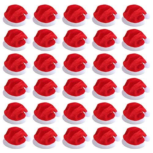 Mini Christmas Santa Claus Hat, 30 Pcs Mini Red Santa Claus Hats Christmas DIY Lollipop Hat for Cute Little Doll Crafts Decor, Lollipop Candy Cover, Cup Bottles Cover, Home Christmas Decor