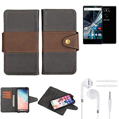 K-S-Trade® Handy-Hülle Schutz-Hülle Bookstyle Wallet-Case Für -Archos Sense 55 S- + Earphones Bumper R&umschutz Schwarz-braun 1x