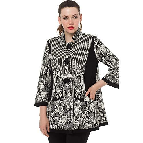 Joseph Ribkoff Black/White Jacquard Swing Coat Style 183663 Size 10