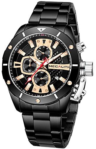 MEGALITH Reloj Hombre Militar Negro Acero Inoxidable Relojes Analogico Cronografo Reloj de Pulsera Hombre Esfera Grande Impermeable Cuarzo Negocios Fecha Luminosa
