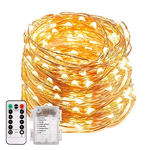 ECOWHO LED String Lights, 66ft 200 LED Waterproof Starry Fairy Lights, 8 Lighting Modes, Battery Powered Decorative Lights for Patio, Garden, Wedding (0.26, 1)