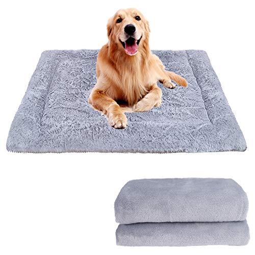 FEBSNOW - Alfombrilla de cama para perro, suave con manta de perro de primera calidad, lavable para cama grande, tamaño mediano y pequeño gato (gris plateado)