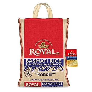 Authentic Royal Royal Basmati Rice 15-Pound Bag White