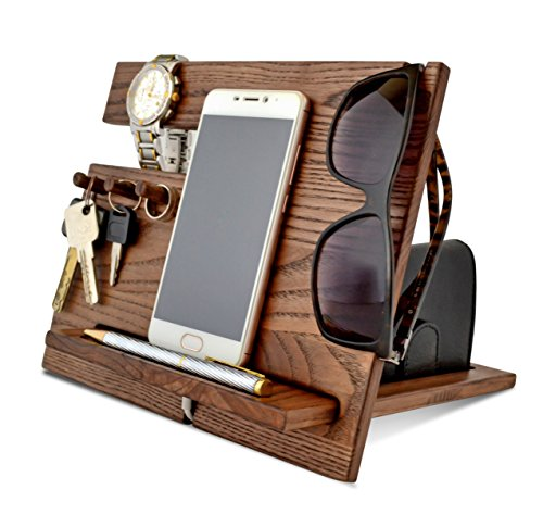 Wood Phone Docking Station, Ash Desk Organizer, Tablet...