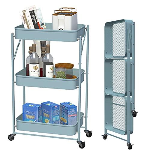 CM67 Carro de metal con 3 niveles, estantería de cocina de metal, ahorra espacio, con 4 ruedas, carro de almacenamiento de metal para baño, cocina, habitación de los niños, lavandería, oficina