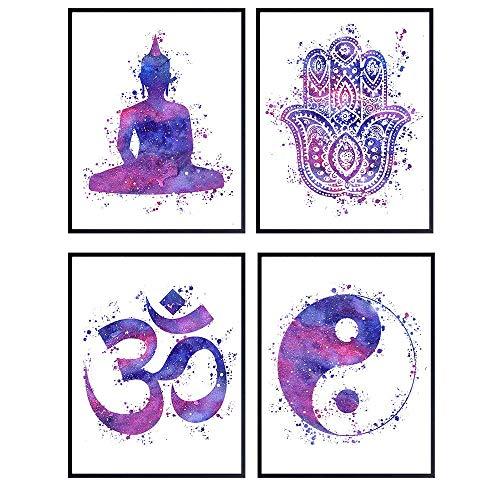 Zen Meditation Buddha Art - 8x10 Poster Set - Buddha, Yin Yang, Om, Hamsa Hand of Fatima - New Age Spiritual Gift for Buddhist, Yoga Teacher, Instructor, Studio - Unframed Wall Decor, Room Decoration