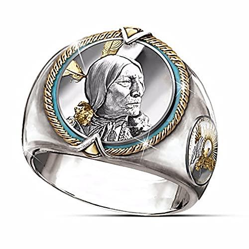 LH&BD Anillo De Espíritu Guerrero Vikingo Tocado De Jefe Indio Amuleto Tribal para Hombres,F,11