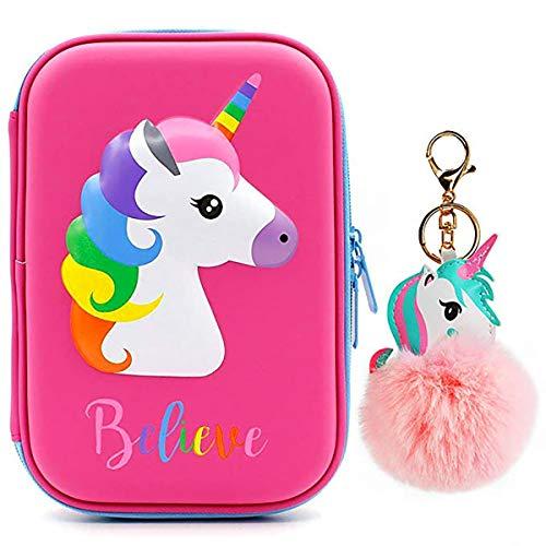 Estuche para lápices con diseño de unicornio con colgante de unicornio, organizador de lápices duro para niños con compartimentos, bolsa de cosméticos para niñas