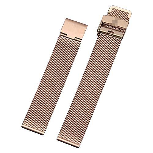 GOLOFEA Correas de Metal de Acero Inoxidable Tejidas Malla de Malla Correas Unisex Watch Cadenas Rose Gold color-18mm