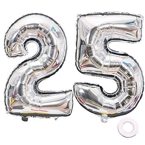 Juland Luftballons 25. Geburtstag XXL Riesen Folienballon Luftballon Zahl 25 52 Silber Nummer Ballons Große Folienmylar-Ballons 40-Zoll-Riesen-Jumbo-Zahl-Ballons zum 25. Geburtstag Partydekorationen