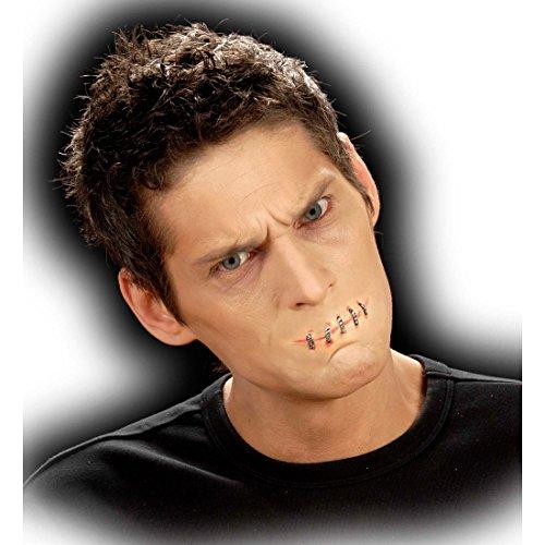 Amakando Bouche Cousue Latex Application affreux Maquillage Horreur FX théâtre Halloween Make up soirée à thème Halloween Carnaval