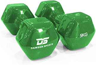 DAWSON SPORTS Unisex Adult 12251 Vinyl Dumbbell - 5kg (12251) - Green, 5kg