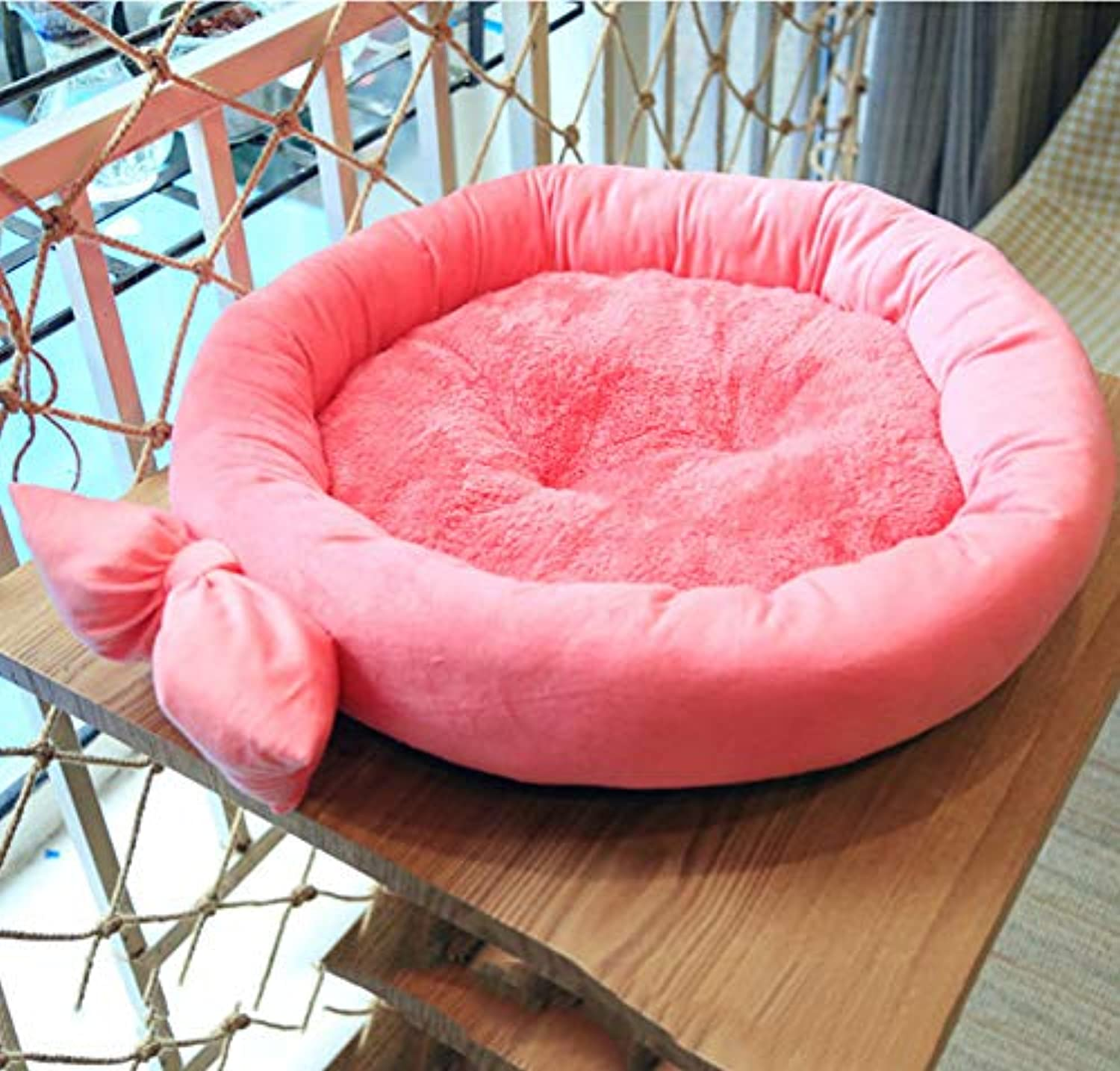 Pet bed Warm Cat and Dog Bed Round Sleeper Small Pet Products for Small Medium Pet Bulldog Poodle Removable Cover (color   PINK)