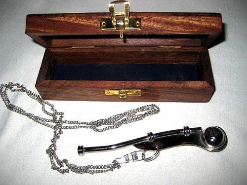 magicaldeco - Silbato marinero (estuche de madera incluido, con instrucciones que pueden no estar en español), chapado en plata