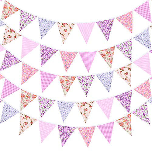 Whaline 40ft Fabric Bunting Banner Pink and Purple Floral Vintage Bunting Flags Reusable Cotton Triangle Flag Garland Decoration with 42pcs Pennants for Garden Wedding Baby Shower Birthday Parties