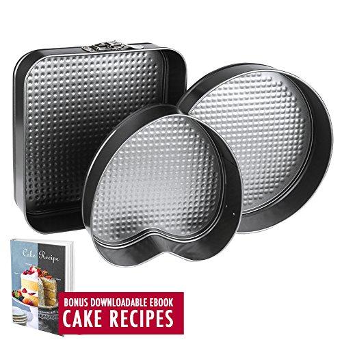 Springform Pan Baking Pans, Set of 3 Pcs Non-Stick Leakproof Cake...